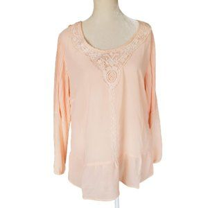 NY Collection Peach Peasant Sheer Blouse Pullover